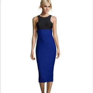 ABS sleeveless colorblock bandage dress
